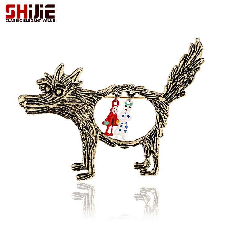 Vintage Wolf Men Brooch Antique Bronze Brooches For Women Retro Lapel Pin Lovely Pendant Broches Collar Cap Accessories Jewelry