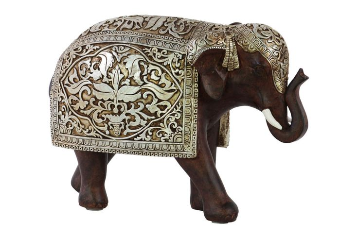 Resin Standing Trumpeting Indian Elephant Figurine with Silver Blanket Painted Finish Brown