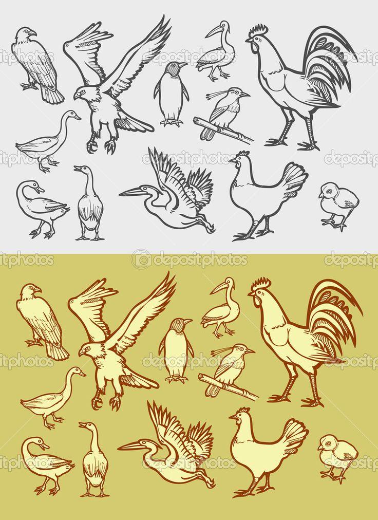 птицы значки эскиз ретро, черно-белый стиль - Стоковая иллюстрация: 53151265