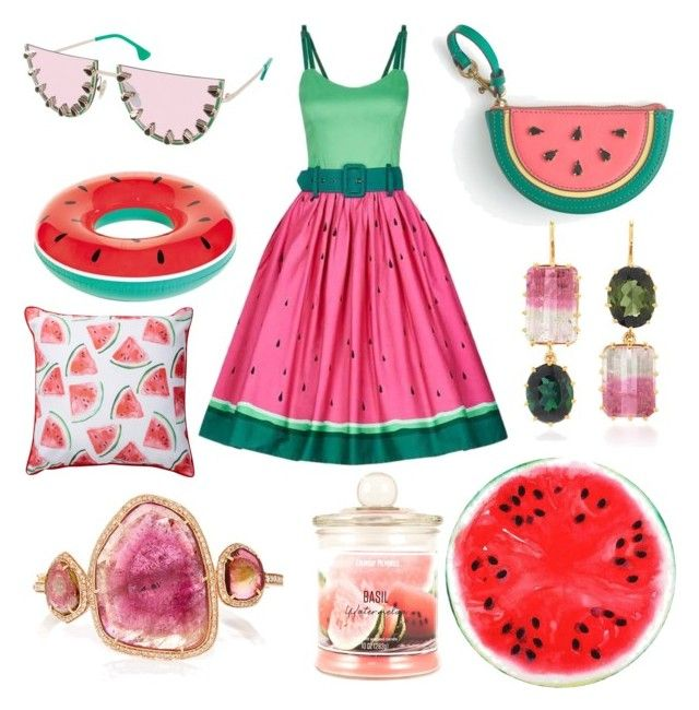 """Watermelons"" by amber-lanehart ❤ liked on Polyvore featuring Collectif, J.Crew, Renee Lewis, Alice + Olivia and Enchanté"