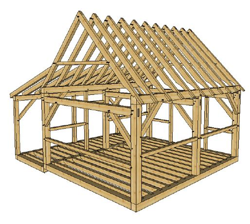 16x20 Timber Frame Cabin With Lean To In 2019