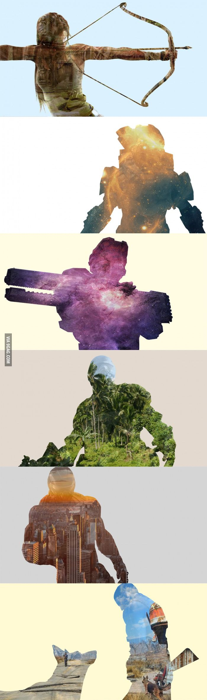 Some double exposure gaming designs I made (write in comments what games you want to see next) - 9GAG