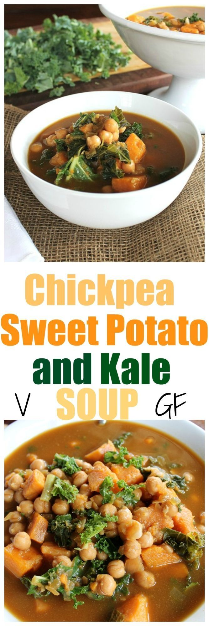 Chickpea, Sweet Potato and Kale Soup. So easy, full of flavor, protein, goodness and just a few ingredients. | TheVegan8.com | (Vegan Potato Kale)