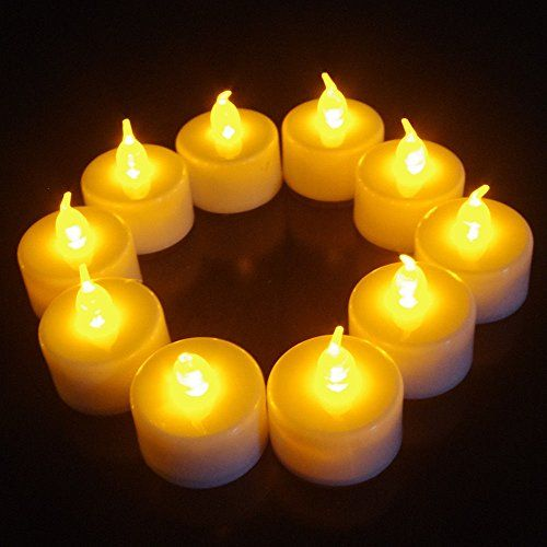 HSE 24pcs Yellow Flickering LED Tea Light Battery Candles Flameless Wedding Party -- You can get more details by clicking on the image.