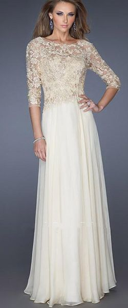 3/4 Length Sleeves Long Chiffon Lace Mother of The Bride Dresses