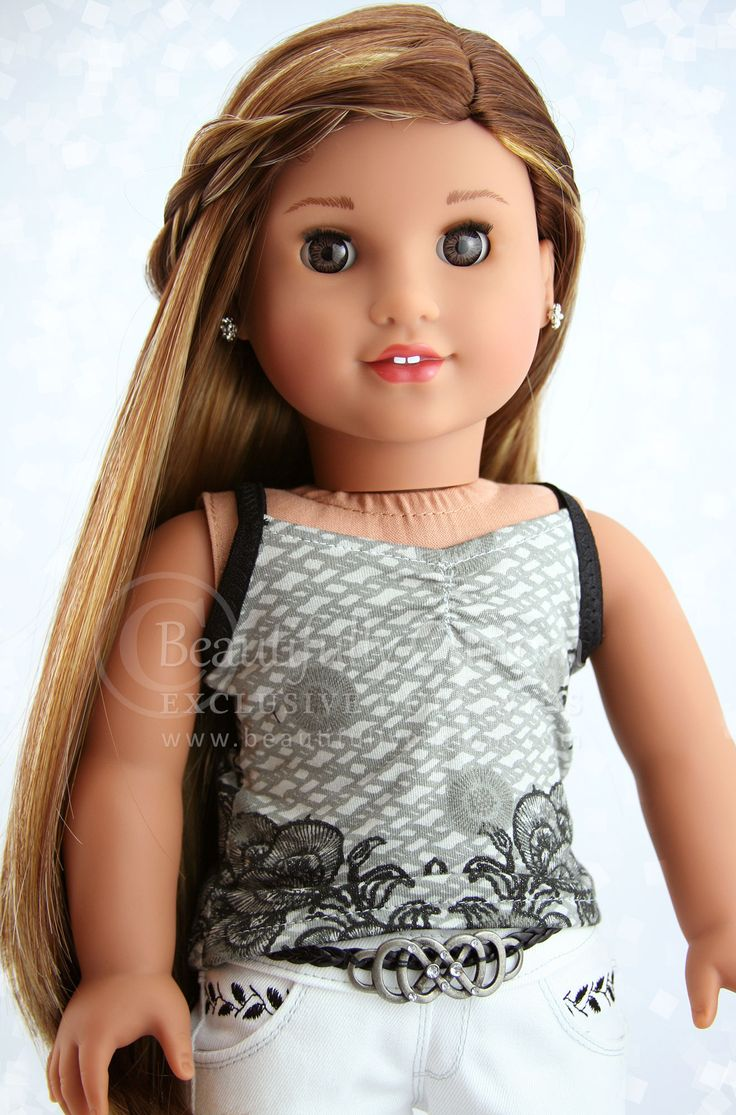 Sunkissed Coffee Elegance Doll Wig Brown Blonde Highlights For 18 Quot Custom American Girl Dolls