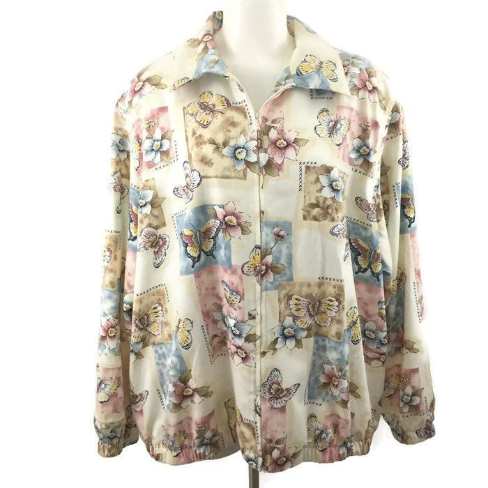 Alfred Dunner Bomber Jacket Muli-Color Butterflies Flowers Pockets Plus Sz 24W #AlfredDunner #Bomber #Casual