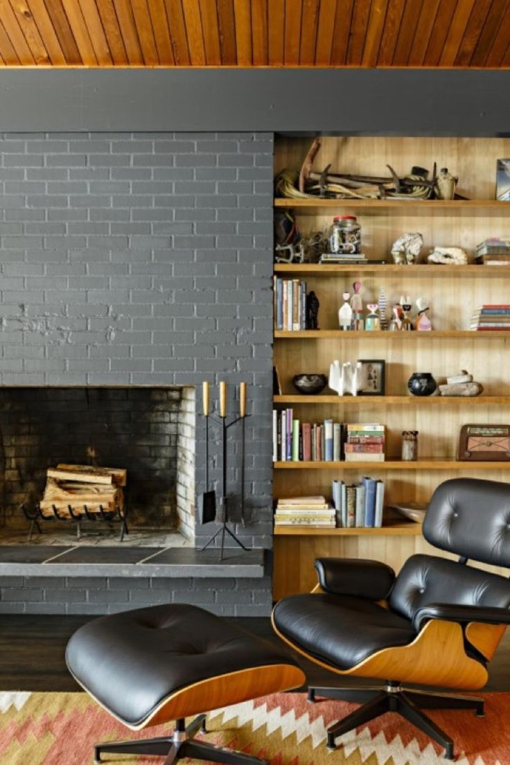 Lincoln Barbour Midcentury fireplace and shelves