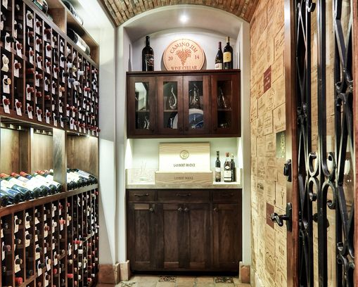 Gorgeous Wine Cellar With Wine Crate Panel Wall Tiles Opposite The Rack    Www.designworkshome