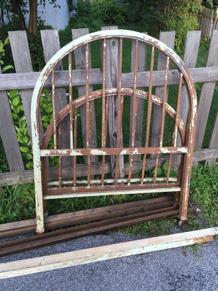 Twin Metal Industrial Bed Frame Headboard and Footboard Antique Green