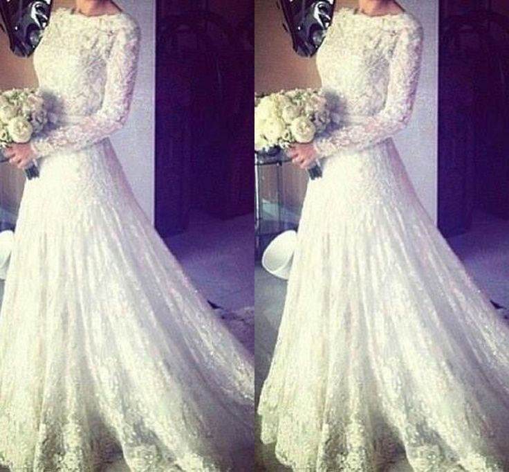 2015 sexy new sheer lace long sleeves backless a line wedding dresses high neck tulle applique