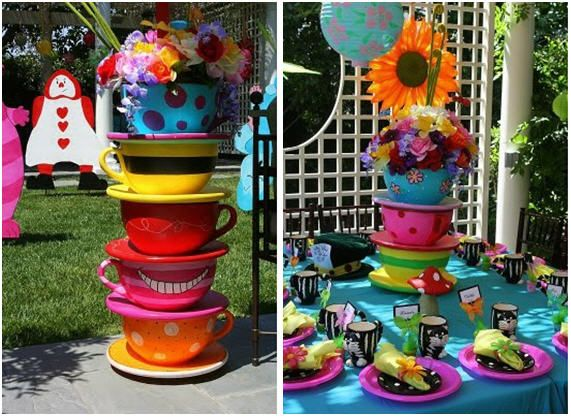 Tea party decorations!: Wonderland Parties, Teas Cups, Hatters Teas, Mad Hatters, Parties Ideas, Bridal Shower, Parties Theme, Teas Parties Decor, Baby Shower