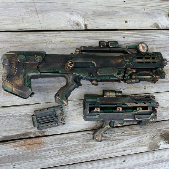 Steampunk HALO Nerf LongShot CS 6  Gun soft dart toy ZOMBIE Fall Out gothic tommy gun. $119.99, via Etsy.
