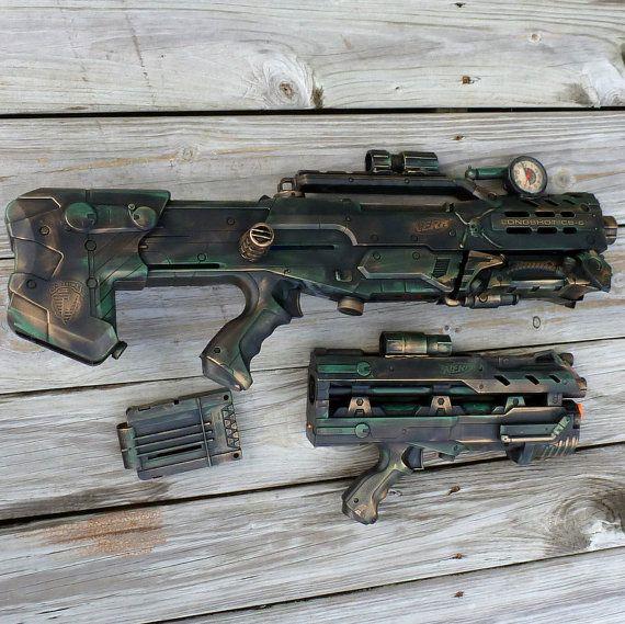 Steampunk HALO Nerf LongShot CS 6 Gun soft dart toy ZOMBIE Fall Out gothic tommy gun. $119.99, via Etsy.