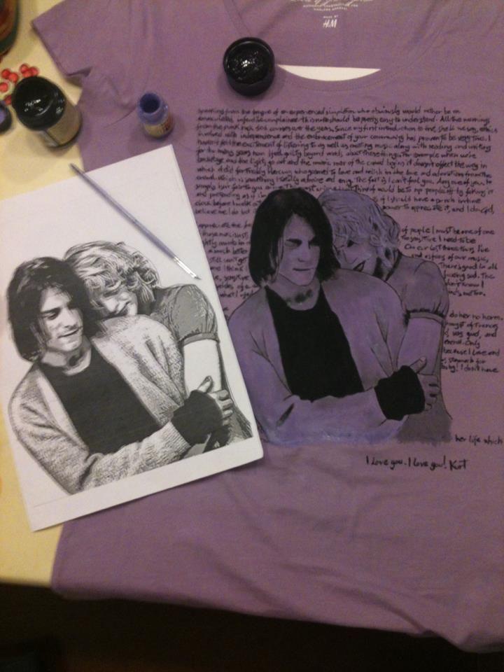 T Shirt Disegnata a Mano / Kurt Cobain e Curtney / L'ultima lettera di Kurt / Disegno originale preso da una fotografia e scritta fatta a mano da me