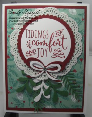by Vicki: Christmas Pines, Presents & Pinecones dsp, Pretty Pines Thinlits, Layering Circles framelits - all from Stampin' Up!