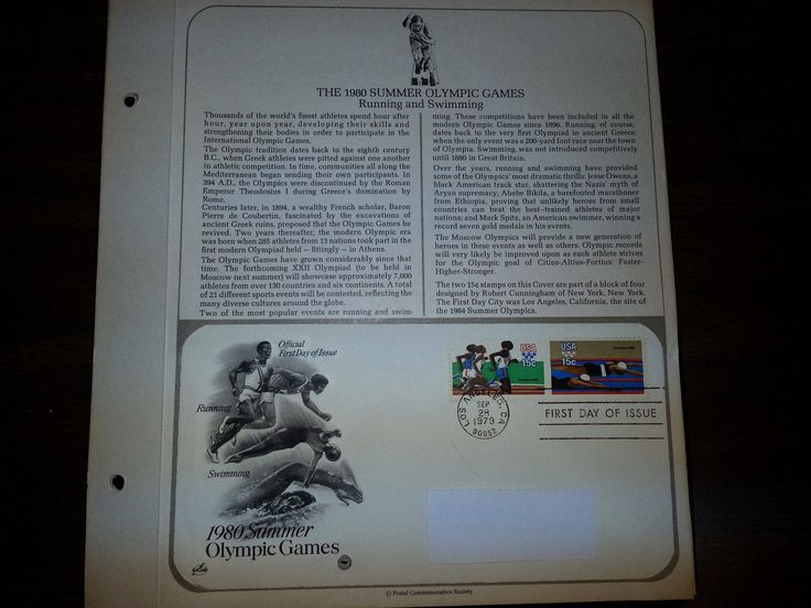 1980 Summer OLYMPIC GAMES U.S. 15cent First Day Cover FDC 1979 by UpstateNYAntiqueVint on Etsy