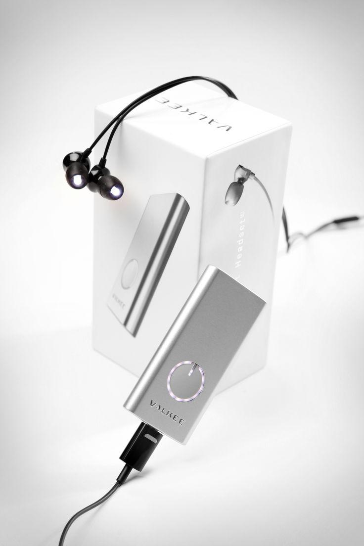 Valkee 2 pocket-sized bright light headset in white aluminum casing. http://valkee.com/en/#shop