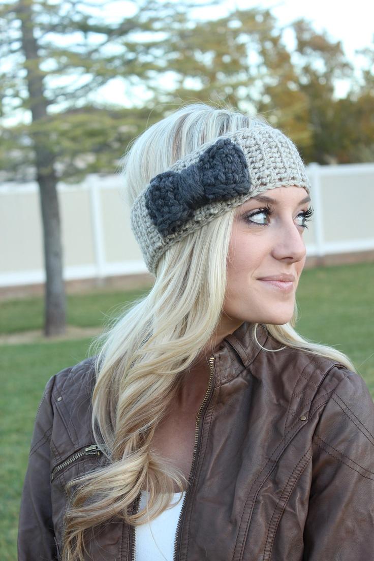 Love her hair!! Bow Headband crochet cream and charcoal gray headwrap earwarmer winter fall. $21.00, via Etsy. (Grandma project)