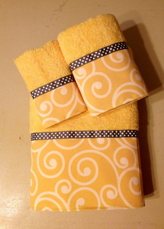 Yellow Gray & White Bath Towel Set.  www.ladydiblankets.etsy.com - Love her stuff!
