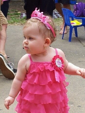 Princess Lyla First Birthday Party Pink Ruffle Dress, badge, tiara
