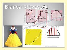 Patrón y costura nos muestra cómo realizar el patrón de Blanca Nieves del cuento de Disney. 1. Realizamos el patrón base de niños, con la talla de la niña. 2. Para el corpiño: al patrón le hacemos tr