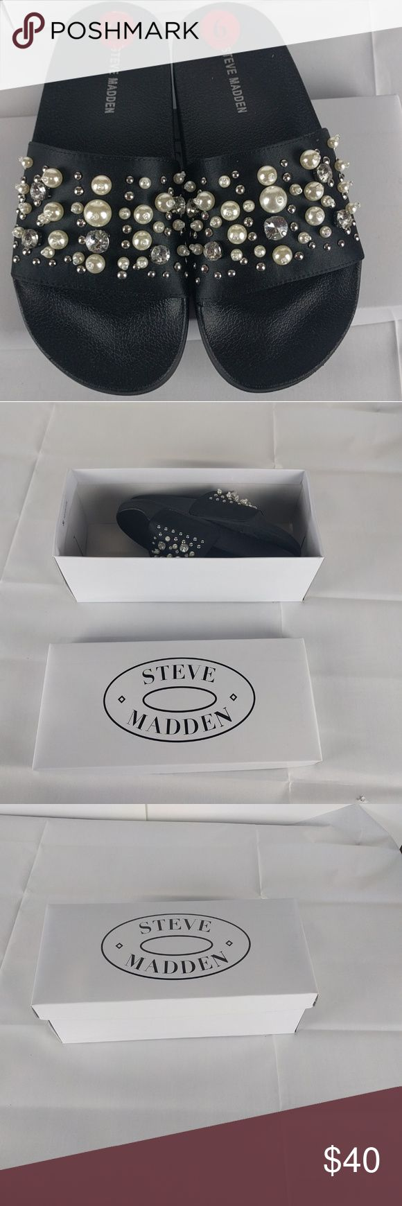 NWB Size 6 Steve Madden Sandals Black with Bling! Cute Steve Madden sandals! New with box. Note: these are new, but were used as a store display, so may have a few scuffs on the bottom from being tried on. Steve Madden Shoes Sandals