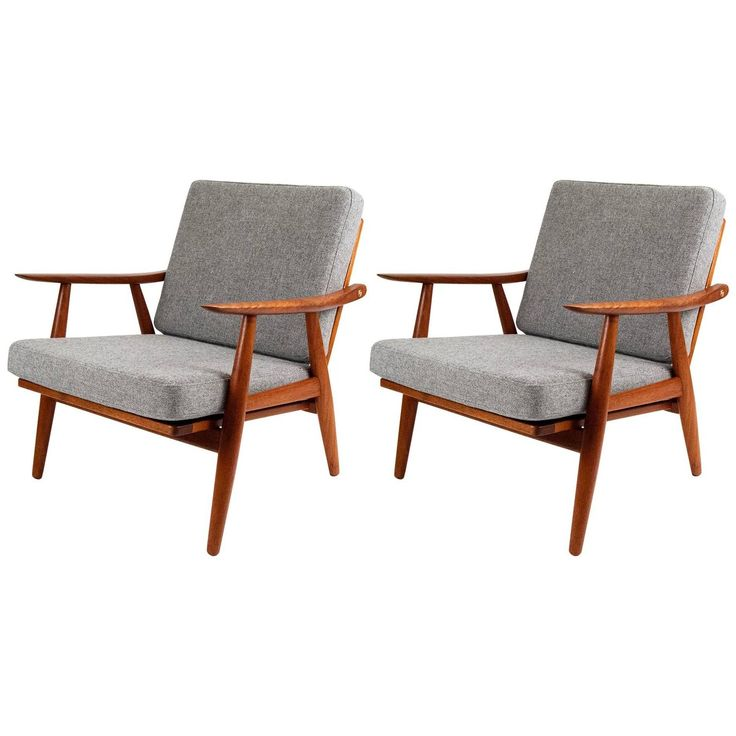 Hans Wegner GE-270 Danish Teak Lounge Chairs | From a unique collection of antique and modern lounge chairs at https://www.1stdibs.com/furniture/seating/lounge-chairs/