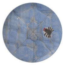 Art by Children, Spider with cobweb, drawing Dinner Plate