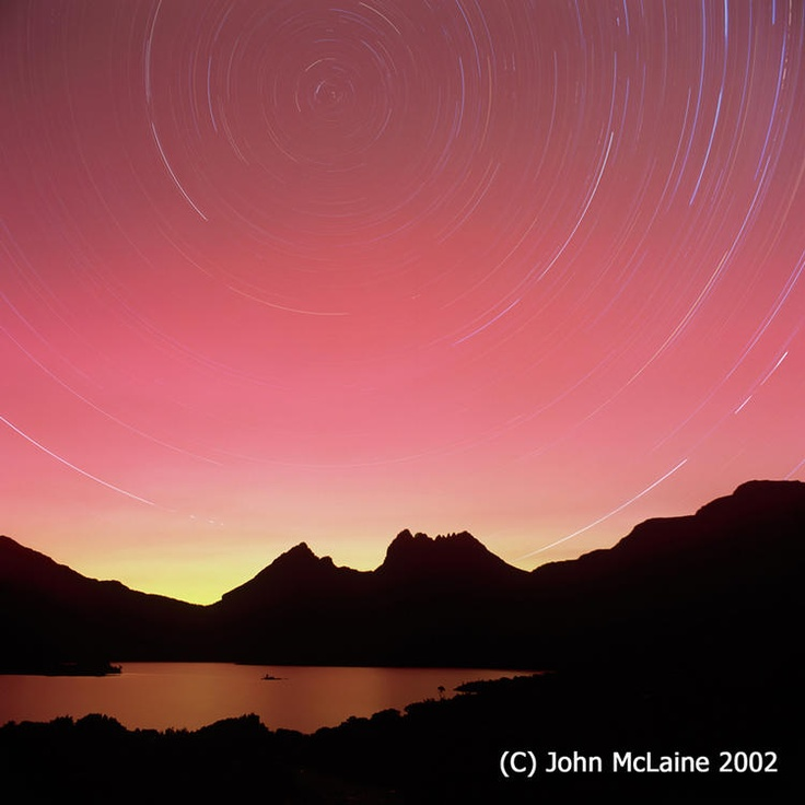 Aurora Australis and Star Trails at Cradle Mountain