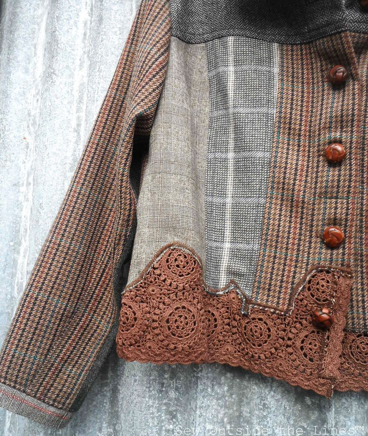 Close up of 'Choc Bomb' Jigsaw Jacket. could make this w/ several of my husband's old flannel shirts- so cool!