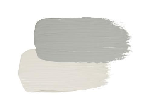 Stucco: Gray Horse by Benjamin Moore; Trim: Winter White by Benjamin Moore