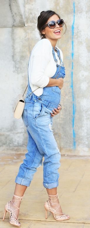 Baby bumpin' in overalls