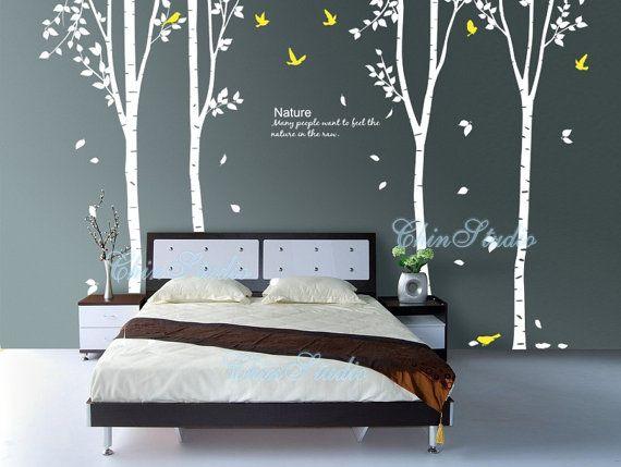 4 Albero di betulla con foglie-albero vivaio muro Decalcomania bambino arredamento vivaio parete adesivo bambini adesivi murali di volo