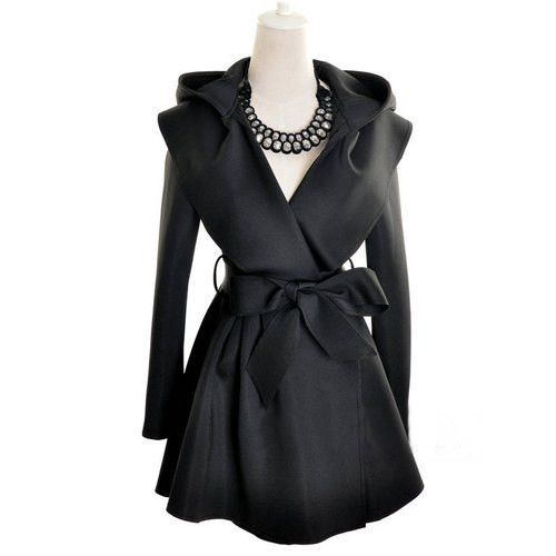 Stylish Long Sleeves Solid Color Belt Hooded Trench Coat For Women