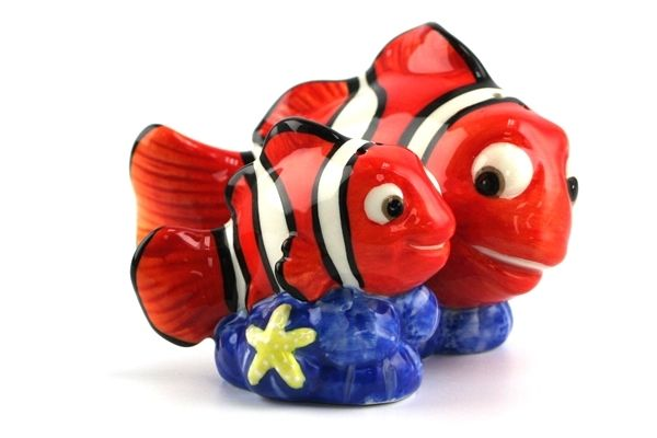 Marlin & Nemo Salt & Pepper Shakers -- Glazed ceramic salt and pepper shakers shaped Marlin and Nemo from Disney and Pixar's 'Finding Nemo'.