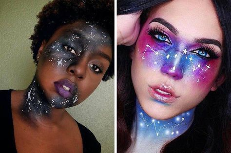 Galaxy Makeup Ideas | Creative DIY Makeup Ideas You Can Try for your next Costume Party! by Makeup Tutorials at http://makeuptutorials.com/galaxy-makeup-ideas/                                                                                                                                                                                 Más