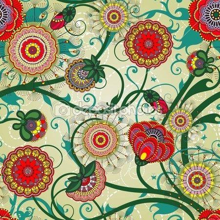 красивые цветочные винтажные обои — Стоковое векторное изображение © juliet #8028611
