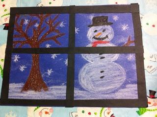Fenêtre représentant un paysage d'hiver. Possibilité d'employer 4 procédés différents