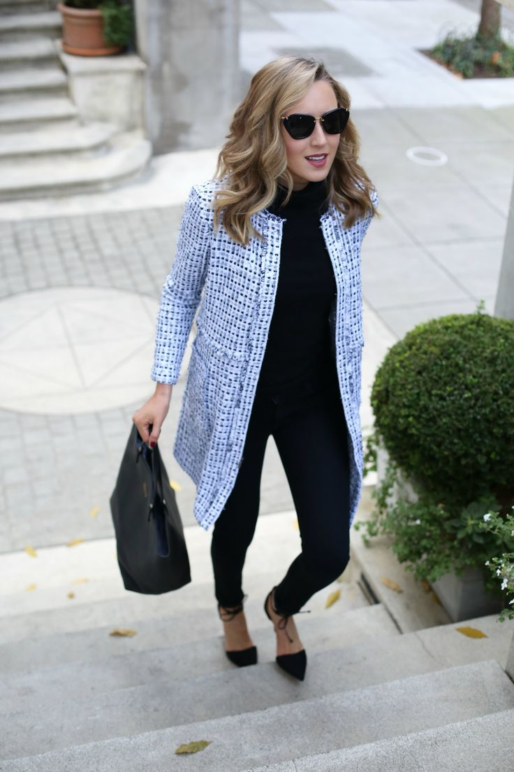 st-john-knits-black-fringe-long-topper-jacket-victoria-beckham-ankle-zip-high-waisted-skinny-jeans-casual-friday-work-wear-office-style-memorandum 14