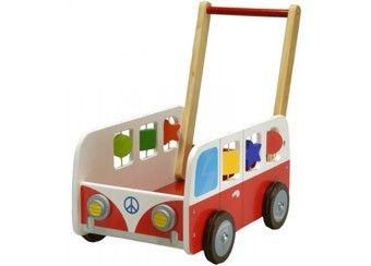 te gekke houten duwkar 'autobus'