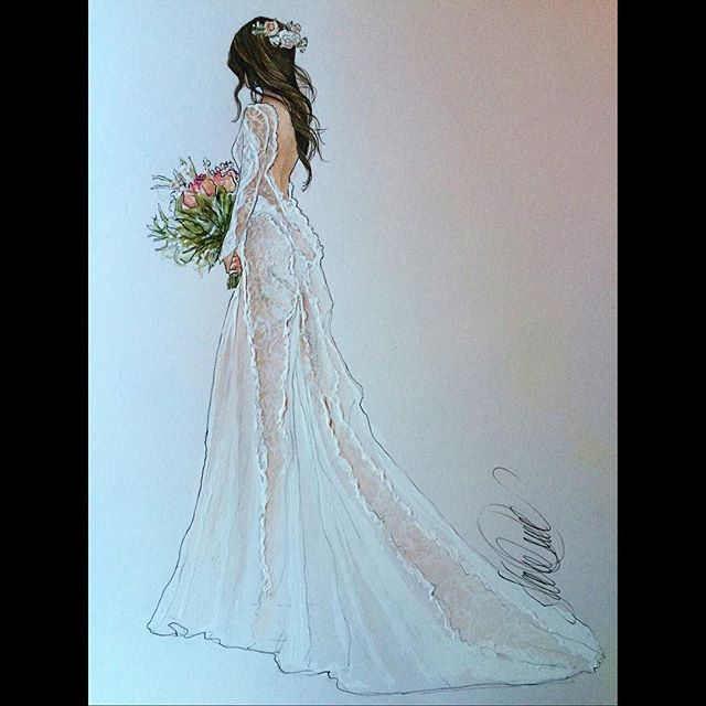 A look back at beautiful Heather in @grace_loves_lace @heathergrace__ #revisit #bridalillustration  For Illustration enquiry- please contact- karenorrillustration@gmail.com