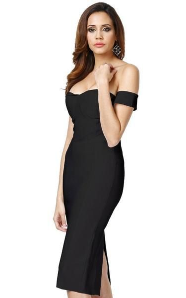 eb4ee1e34c A black off the shoulder bodycon dress with cascade cap sleeves showing off  your shoulders. Full body darts and a split on the back hemline add visual  ...