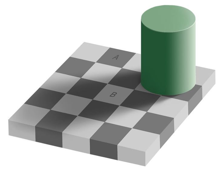 The Same Color Illusion (Oct 7 2012)  Image Credit: Edward H. Adelson, Wikipedia  Explanation: Are square A and B the same color? They are! To verify this, either run your cursor over the image or click here to see them connected. The above illusion, called the same color illusion, illustrates that purely human observations in science may be ambiguous or inaccurate. Even such a seemingly direct perception as relative color. #science