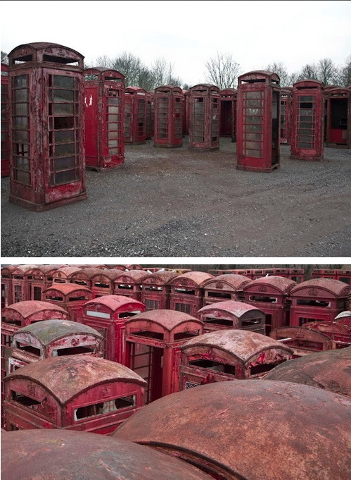 "Previous pinner: ""Spooky.What if you went to this place at night and somewhere amongst the sea of red boxes a telephone started to ring? Pick it up. It's for you."