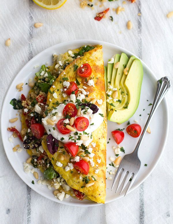 Vegetable and Feta Cheese Omelet