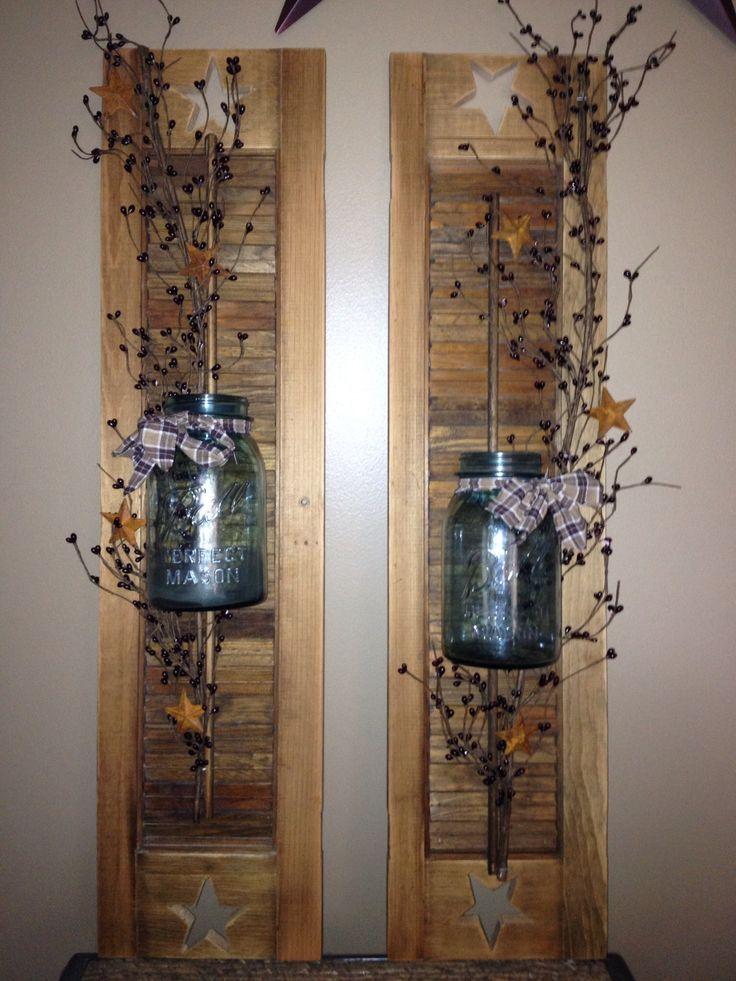Primitive decor Shutters. Www.simplysoycandlesandtarts.webs.com www.facebook.com/simplysoycandlesandtarts: