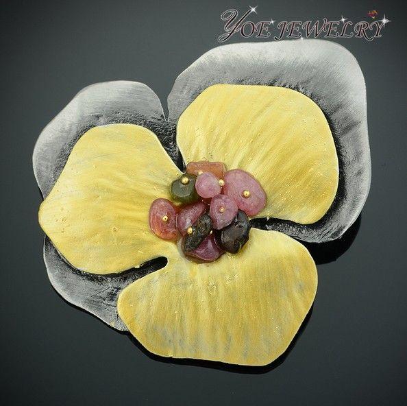 Корейский стиль винтаж броши Pin эмаль цветок из розового камня букет брошь.