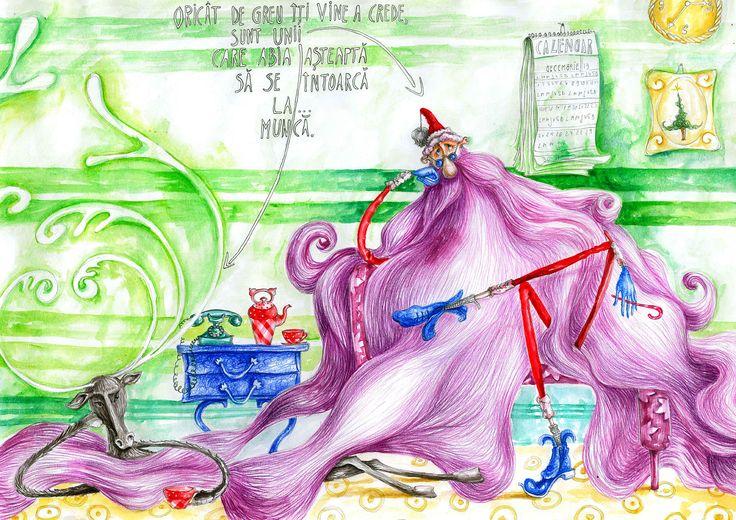 Watch out! Santa came back to work! - illustration by Gratiela Aolariti Vine Moşu' - ilustraţie de Crăciun - Graţiela Aolăriţi