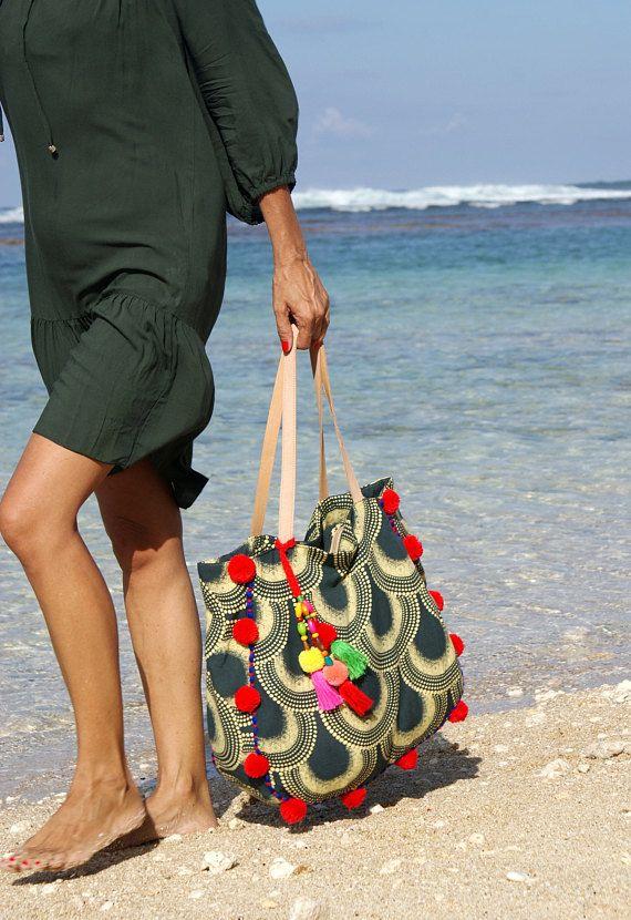 Spiaggia di pompon borsa/nappe Borse tote/bohemien spiaggia